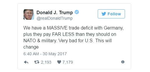 JUST IN: Trump has tweeted about Germany and NATO, just days after returning from Europe