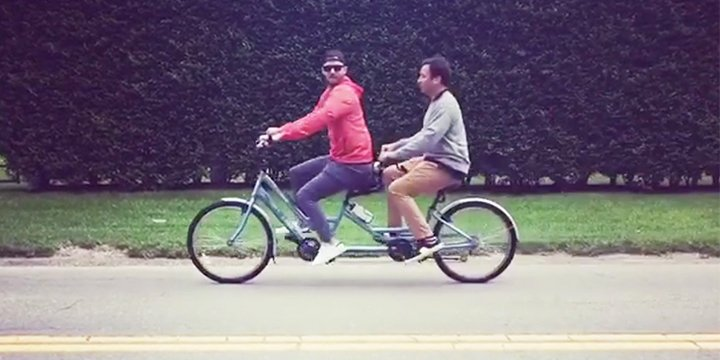 Justin Timberlake and Jimmy Fallon Team Up for a Tandem Bike Ride in the Hamptons