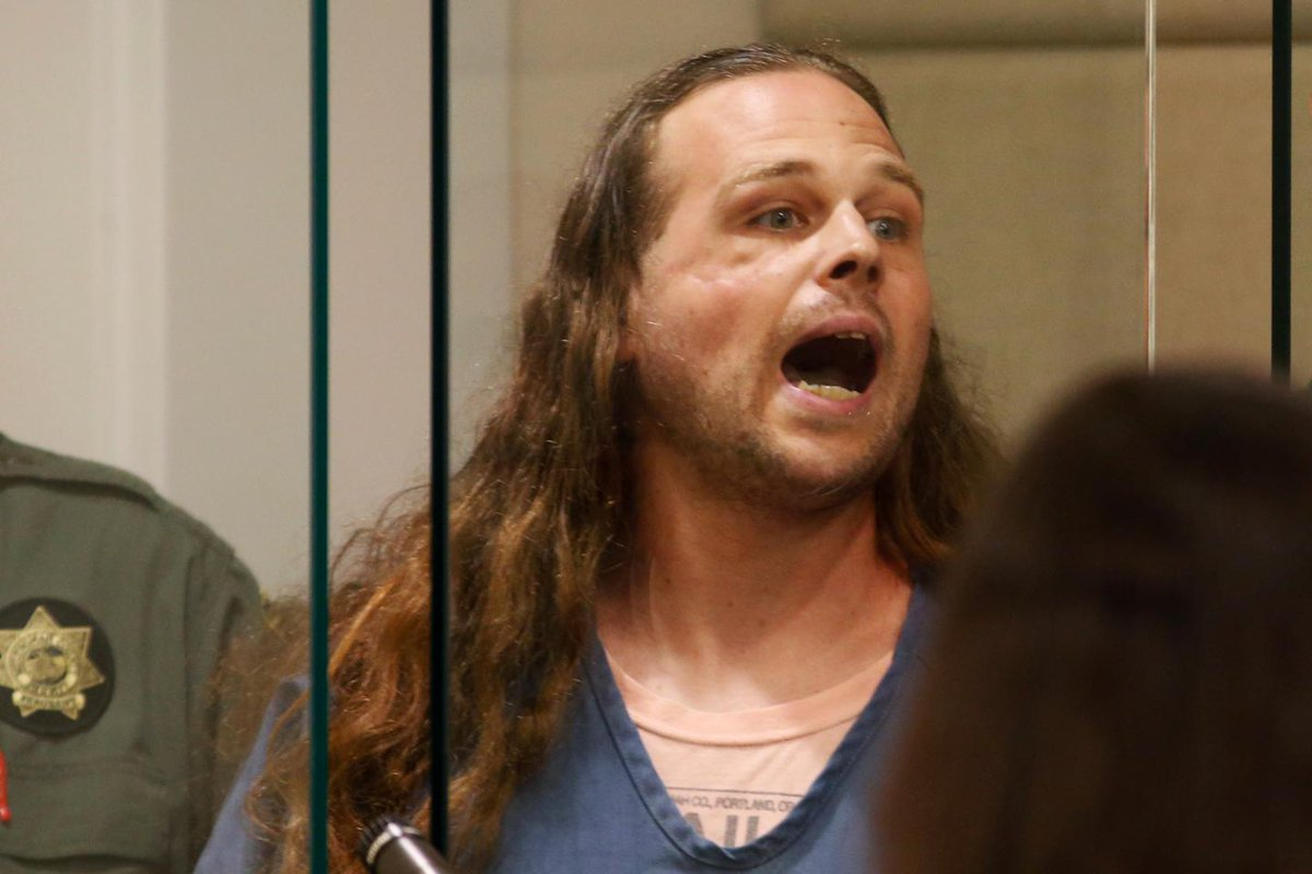 Portland stabbing accused Jeremy Joseph Christian in courtroom outburst