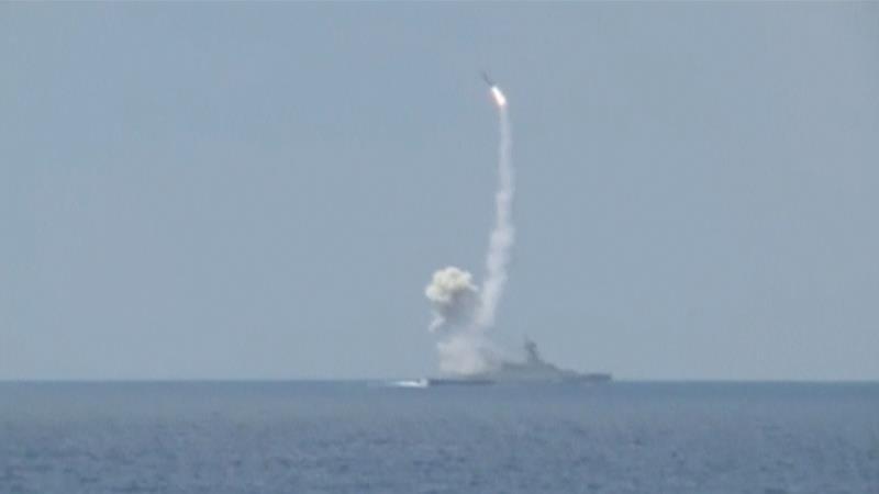 Russia fires cruise missiles at ISIL targets in Syria from the eastern Mediterranean Sea