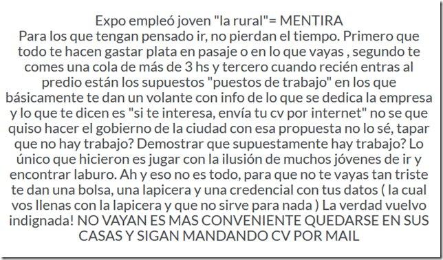 Clima de época. Testimonio en la red. Expo empleó joven 'la rural'= MENTIRA https://t.co/axF7A5NSdg