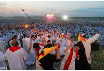 Pope Francis greets young people at Lednica Lake in Poland