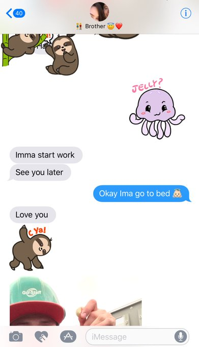 2 pic. I showed my brother how to use stickers for iMessage 😂 @Nate_loko_ https://t.co/MaJ765d7QM