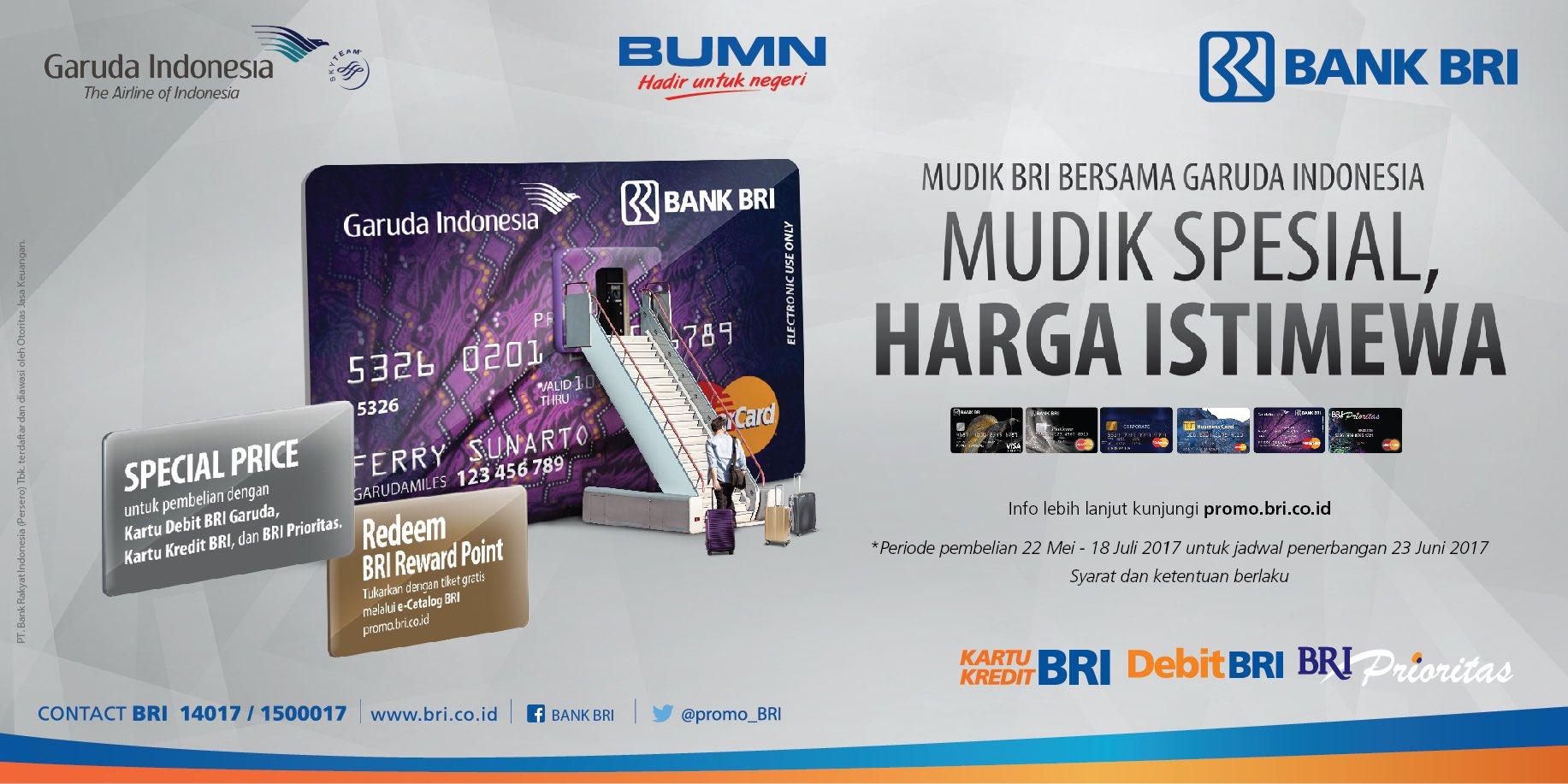 Manfaatkan penawaran terbaik dari Kartu BRI untuk pembelian tiket mudik @IndonesiaGaruda sekarang juga! https://t.co/7dAmtKV5Af