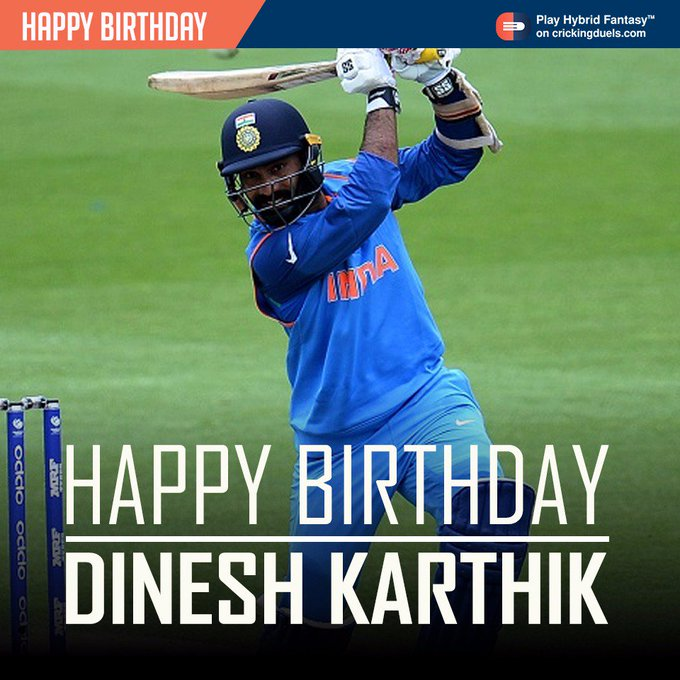 Happy Birthday Dinesh Karthik. The Indian cricketer turns 32 today.