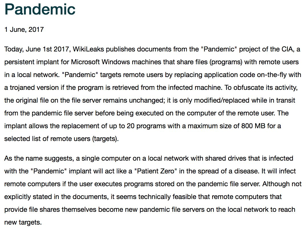 RELEASE: CIA 'Pandemic' Windows infection malware documentation