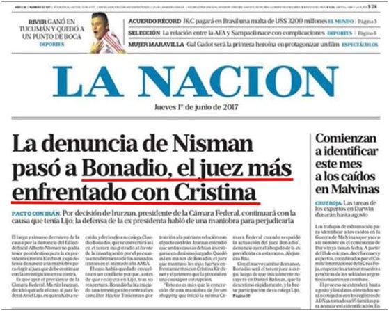 Tapa de hoy de La Nación. El subrayado me pertenece. Primera vez que coincido con este diario https://t.co/DOB2Dme1dQ