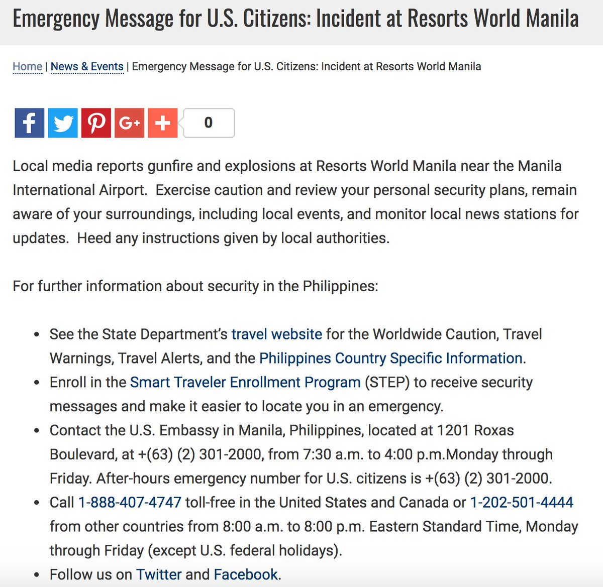 New U S Embassy In The Philippines Issues Emergency Message For U S Citizens On Incident At Resorts World Manila Exercise Caution Scoopnest Com