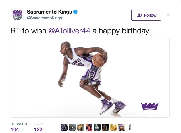 The Kings waived Anthony Tolliver... after messageing him a Happy Birthday. Awkward...