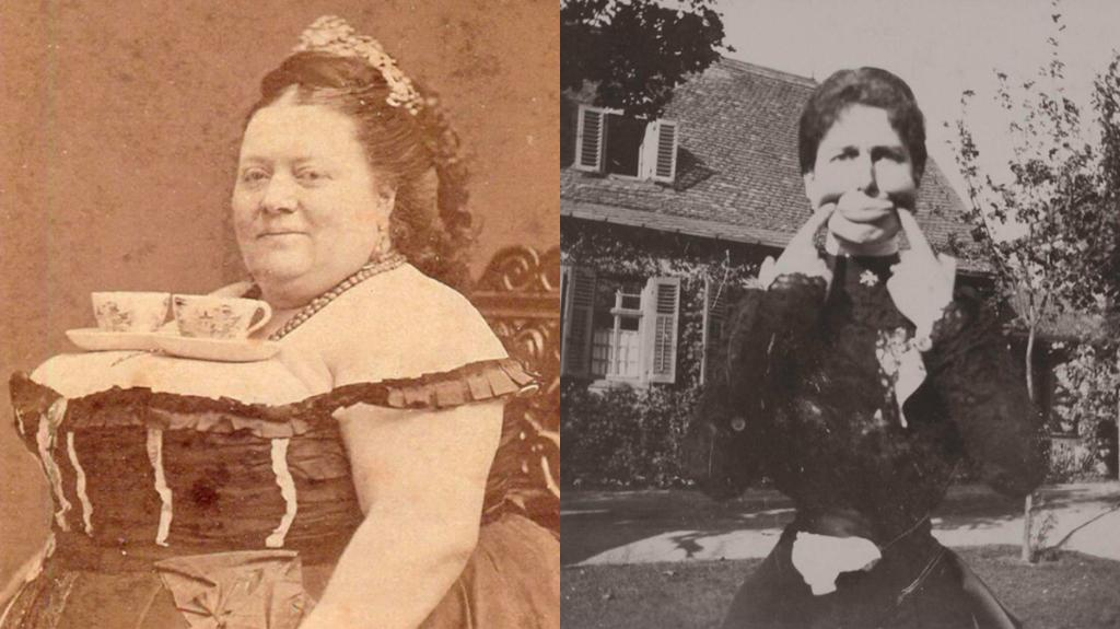 Hilarious pictures show usually stuffy Victorians having a laugh – posing for funny face selfies and balancing cups of tea on their boobs
