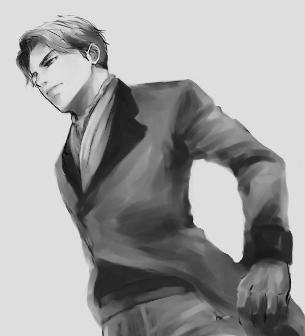 なんとなく描きやすい気がしてらくがきの練習台にされるクルーテオ伯爵/アルドノア・ゼロ まだ途中…そのうち仕上げたい