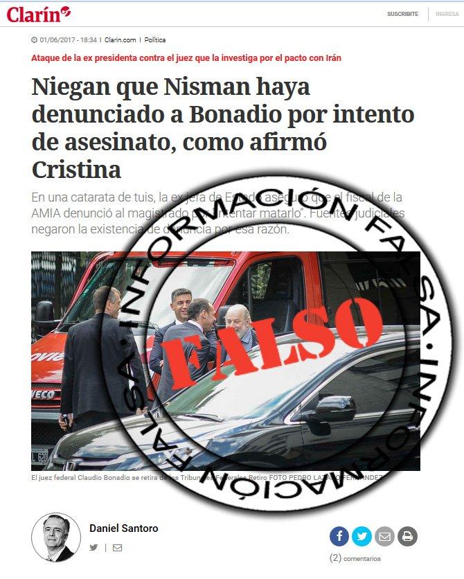 Clarín lo desmintió, porque le encantan las noticias falsas...  El expediente no miente, Clarín si. https://t.co/lwlbQiPTjZ