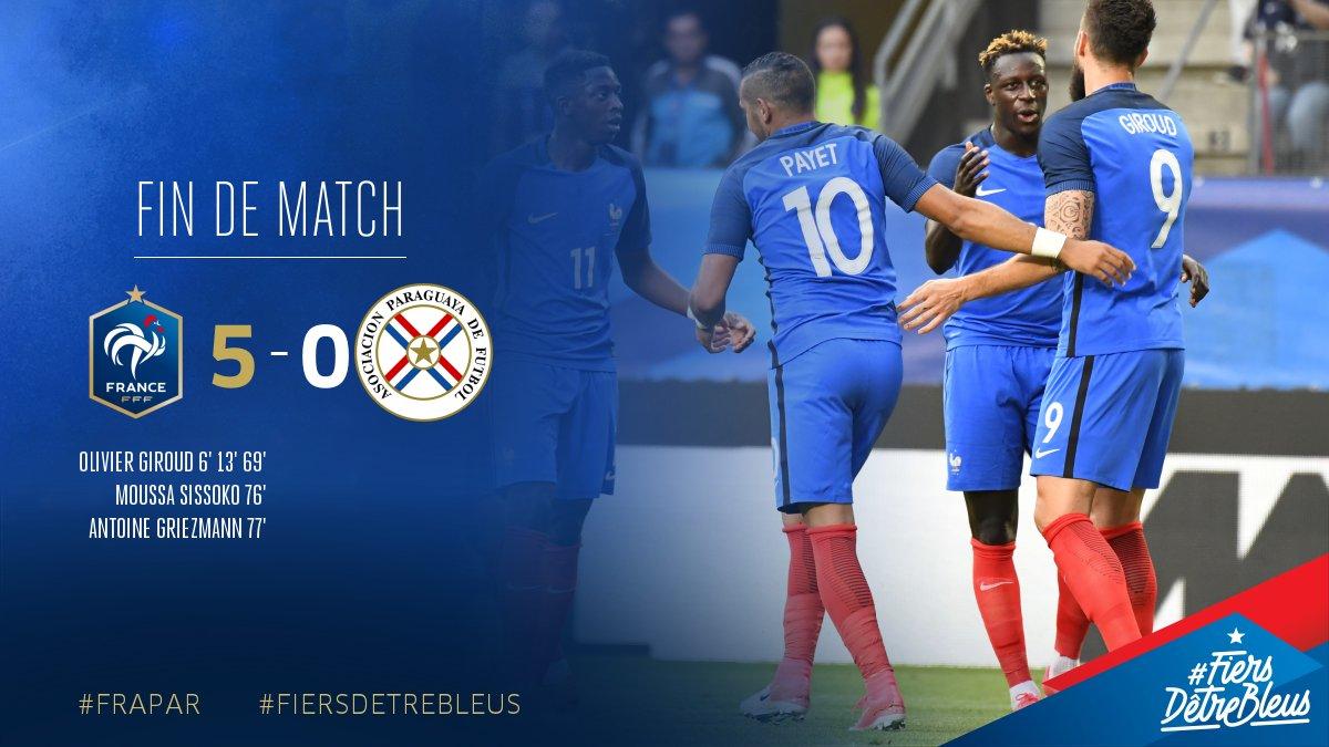 Large victoire des Bleus contre le Paraguay!!!⚽⚽⚽⚽⚽ #FRAPAR #FiersdetreBleus https://t.co/BptaunBIai