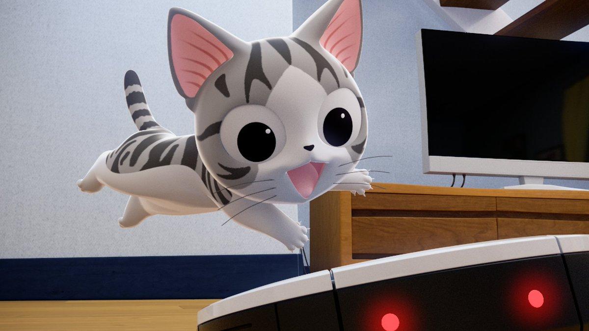 おはよー。みんな もう おきてう?  あと ちょっとれチーのアニメ はじまうよ!みてね〜 「こねこのチー ポンポンらー大