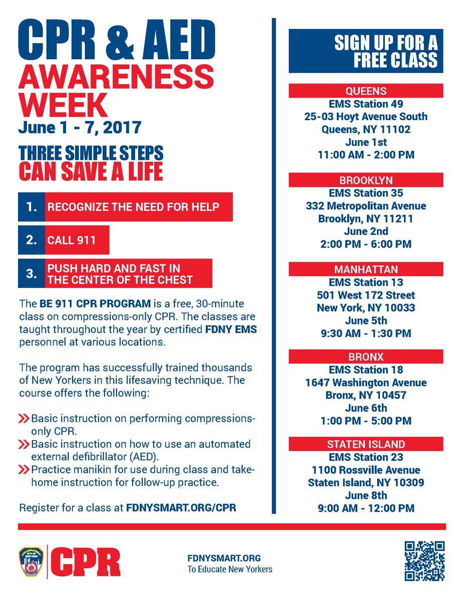 Be Celebrate Cpr Aed Awareness Week W Free Cpr Classes In Nyc