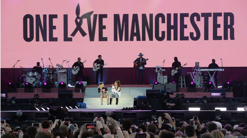 Ariana Grande headlines emotional benefit concert for Manchester attack victims