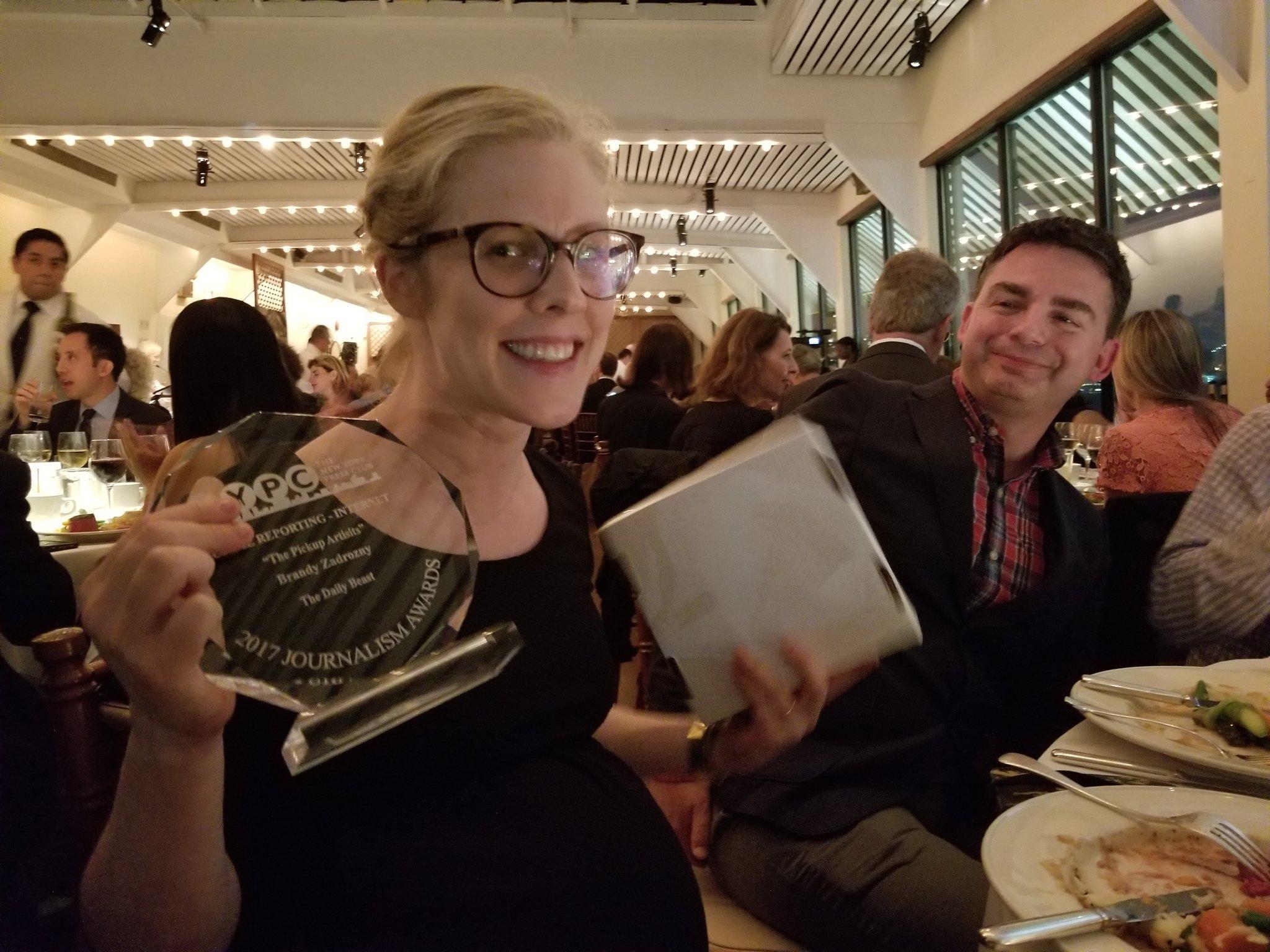 .@BrandyZadrozny picks up NY press club award ... one of three for @thedailybeast tonight! https://t.co/LCUyLNYIah