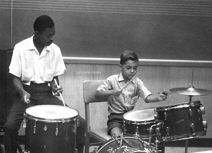Happy 80th Birthday to Louis Hayes! .* *. *¨   Photo: Louis Hayes and Peter Erskine 1961. Louis Hayes (born May...