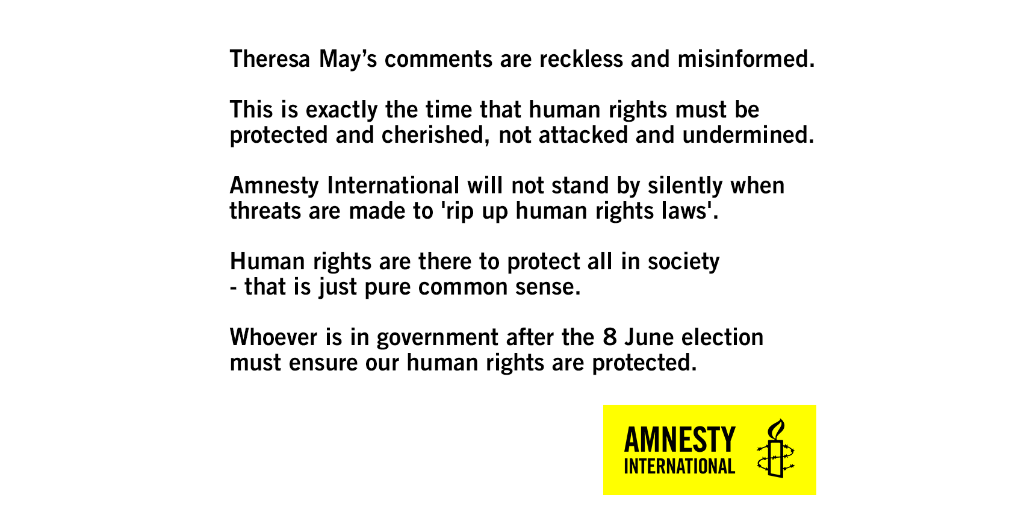 This is exactly the time human rights must be protected & cherished, not attacked & undermined @theresa_may https://t.co/srkgsn6aRS
