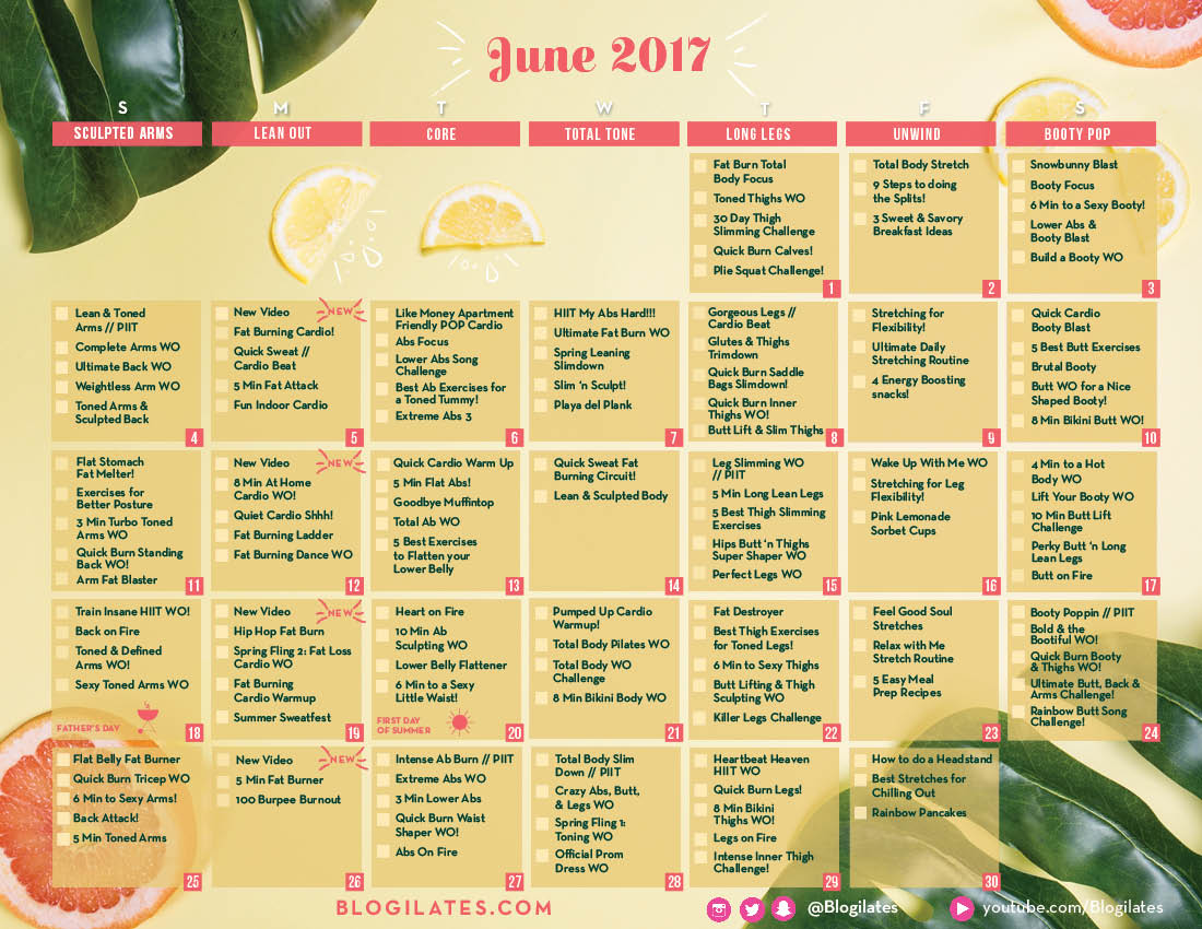 Perfect Time To Start The June Workout Calendar Https T Co Us7ze7hquq L8hulni8nc