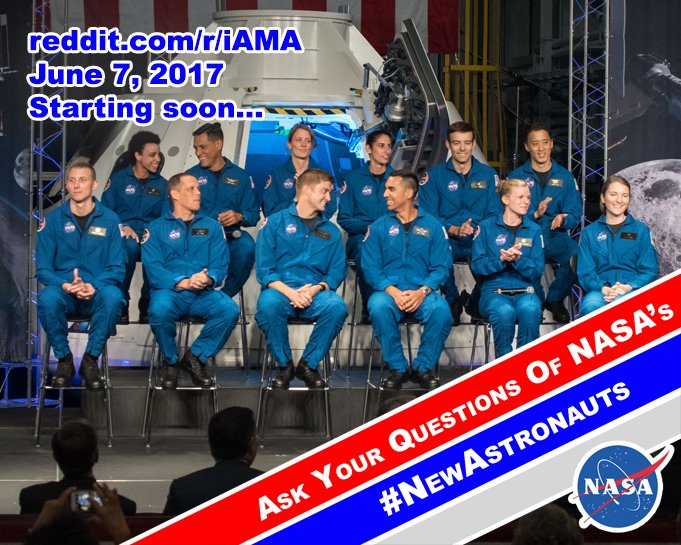 Ask America's 12 #NewAstronauts your questions during a @Reddit AMA! Starting soon…https://t.co/fW9oKyd4bR https://t.co/7KzmFKLIqm