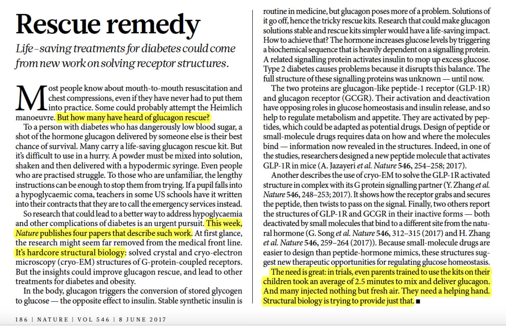 How structural biology can help rescue diabetic hypoglycemia @Nature succinct translation of 4 GLP-1/GCGR papers in current issue #diabetes https://t.co/Kp4u521vHH