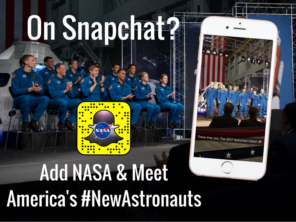 On @Snapchat? Check out today's story to go behind-the-scenes and hear from America's #NewAstronauts! https://t.co/2swZXa7316
