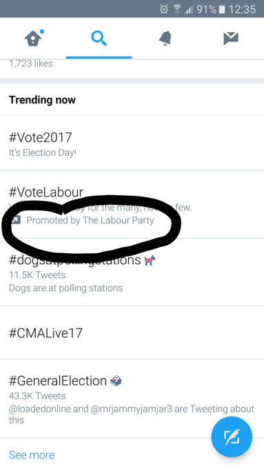 2 pic. Wounder how much of their campaign money #labour used to hog #twitter and #snapchat ?? https://t
