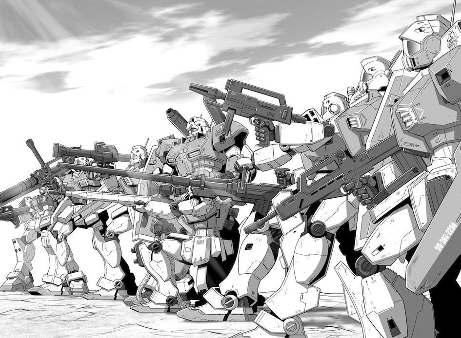 EXA回想:EXAVS2巻収録「トリントン襲撃」回のホワイトディンゴ隊。ガンダムUC時代での「可能性」として描きましたが