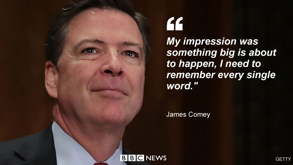 Ex-FBI chief James Comey testifies about meeting with President Trump