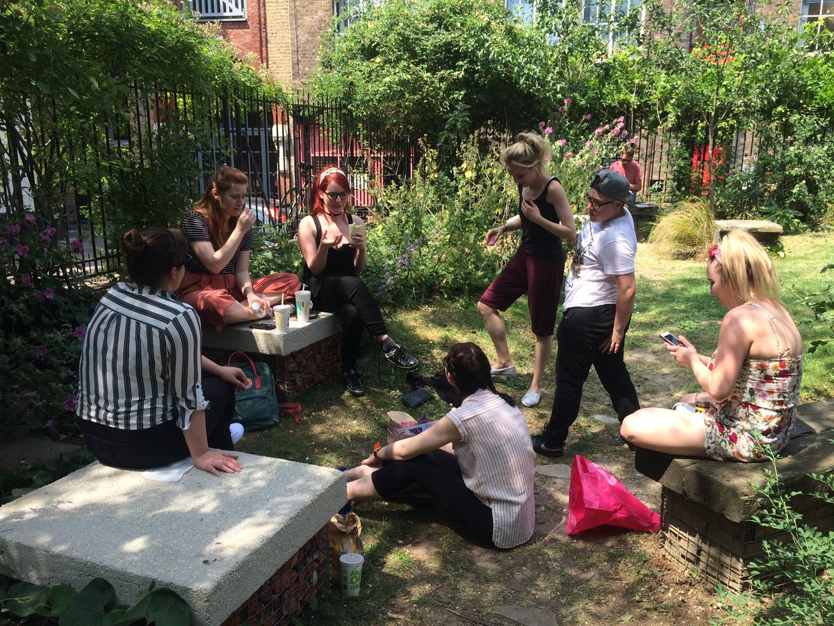 The cast of #Alice chilling out in the lovely @phnxgdn on a break from rehearsals https://t.co/cW6UDBk3zR