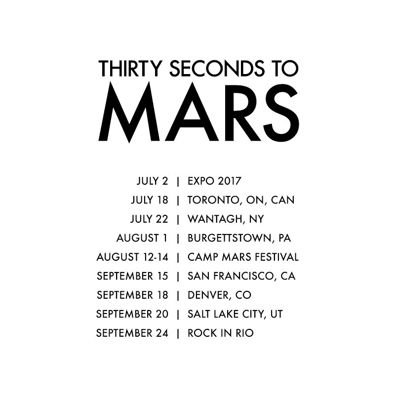 30 seconds to mars bio Thirty seconds to mars  jun 30 tampa (stpetersburg), fl, usa midflorida credit union amphitheatre tickets vip.