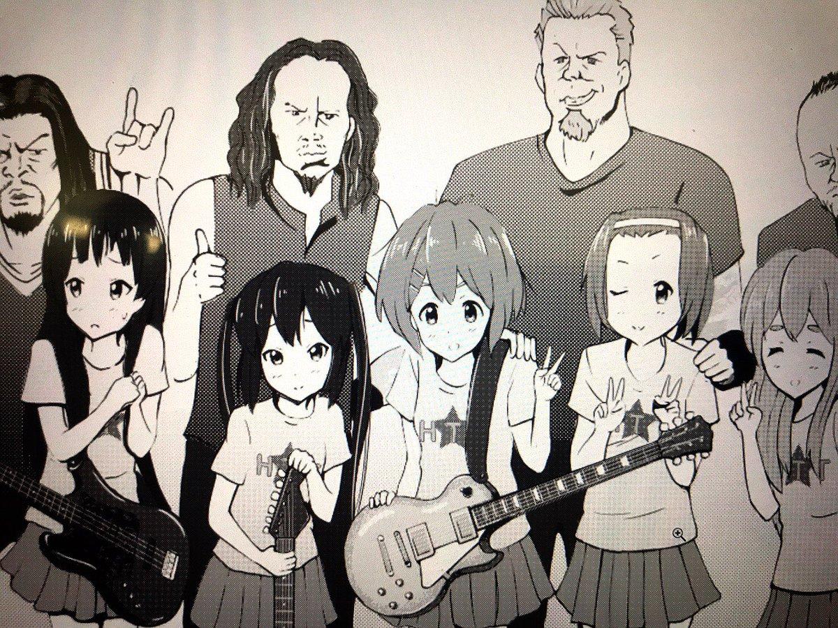 一度カラーであげたものをモノクロトーンに変換中。線もちょっと修正しつつ#Metallica  #けいおん