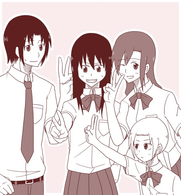 一昨日英稜高校の生徒会役員共を描いたので同じノリで桜才学園の生徒会役員共を描きました 仲が良さそうな絵っていいよね