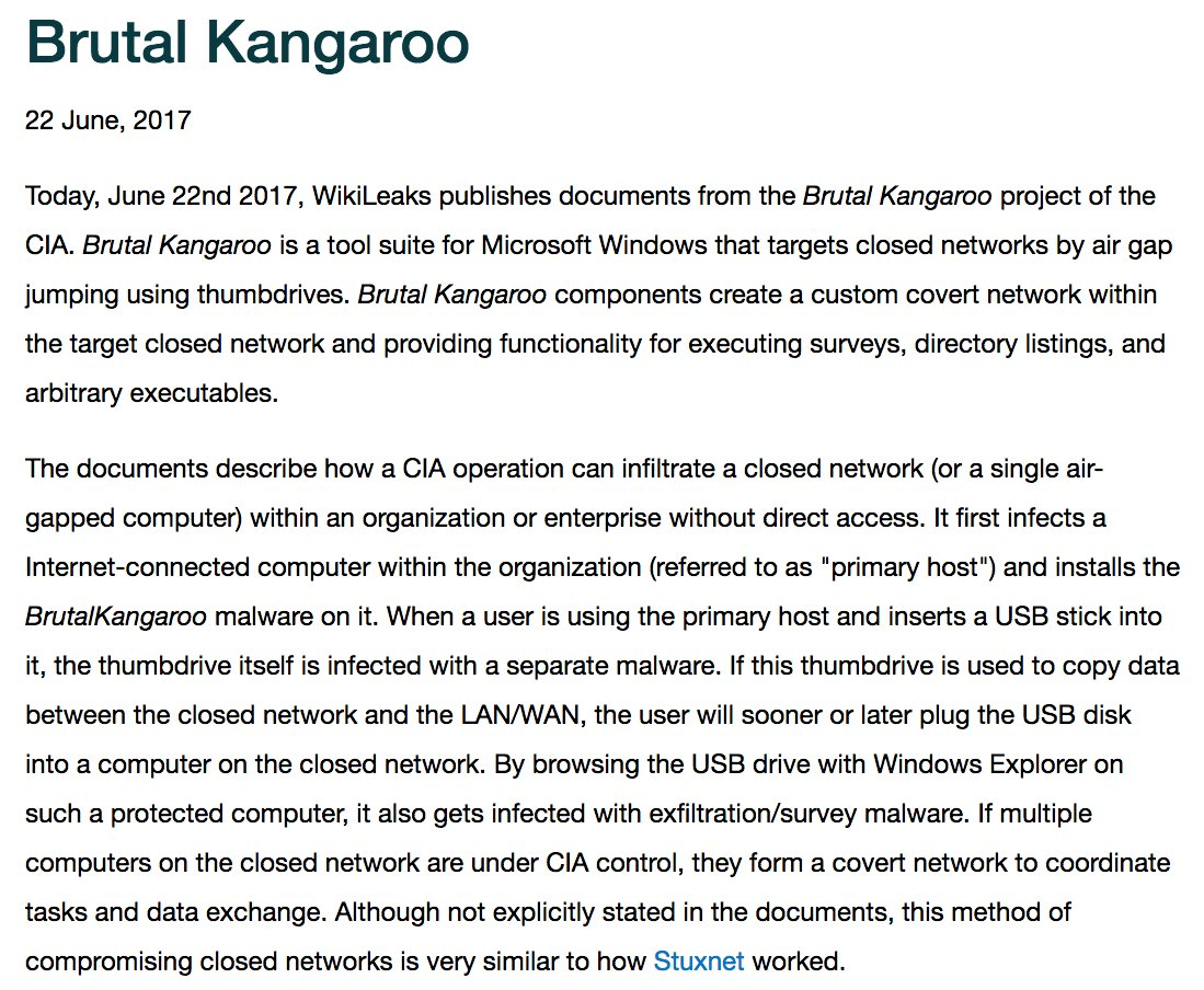 RELEASE: CIA 'Brutal Kangaroo' thumb drive air gap jumping virus attack suite
