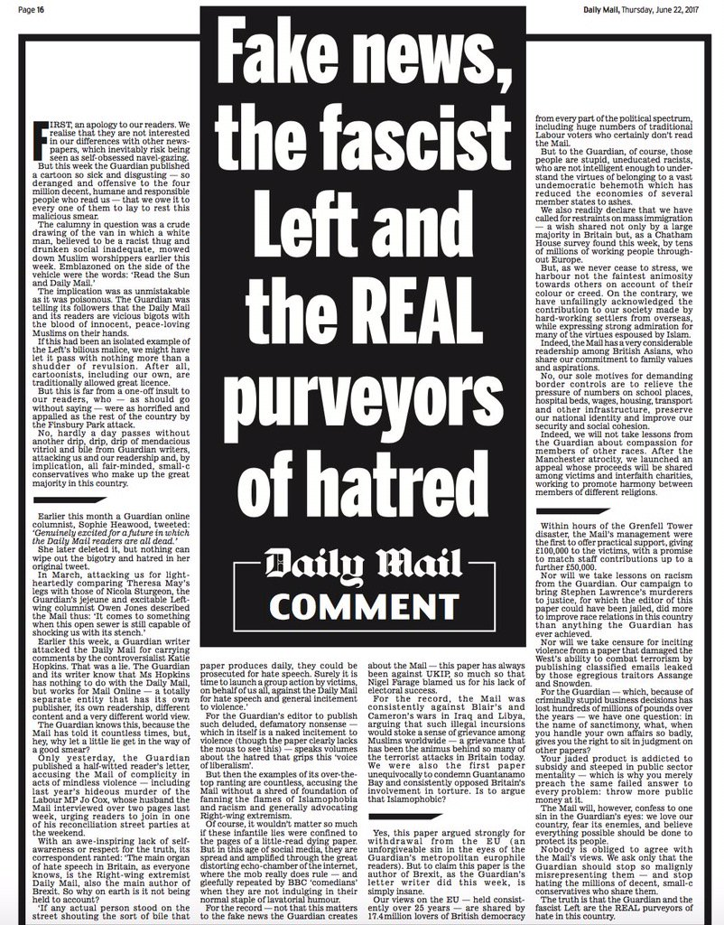 RT @billybragg: Like so many on the right, the Daily Mail can dish it out, but they can't take it. #snowflakes https://t.co/N4oWa5uzug