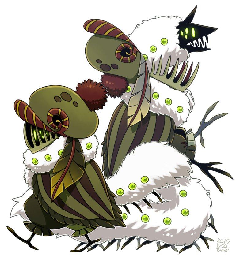 植物亜人のニペと、彼の中に棲んでいる毛虫のサイシェ。ニペには手足がないので、サイシェがいないと移動できない。