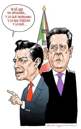 #MonerosLaJornada Los Pinos y la prensa, cartón de @ahelguera