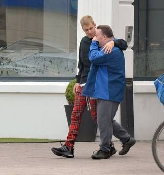 Justin Bieber warmly embraces Celbridge fan as they stop for a chat