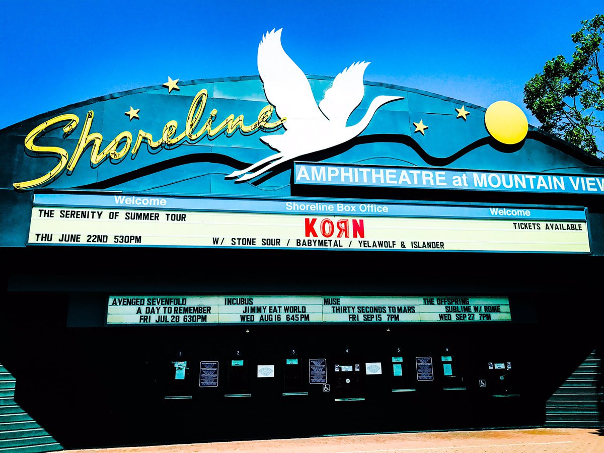 Tonight #BABYMETAL 's show  will start at 7;10pm! #ShorelineAmphitheater #Korn #StoneSour https;/...