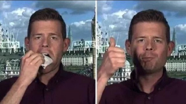British author Matthew Goodwin eats his book on live TV after wrong UK poll prediction