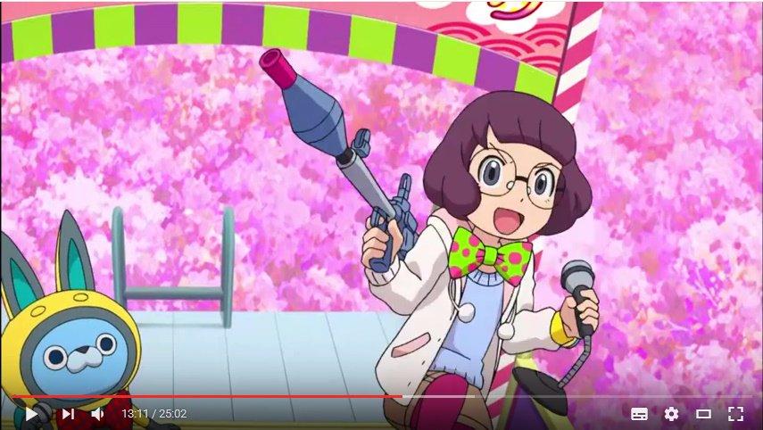 ふぶき姫vs椿姫。この回に限らず妖怪ウォッチ持ってるケータ君とイナホって色々イベントで会う事多いけど、声が聞こえないとイ