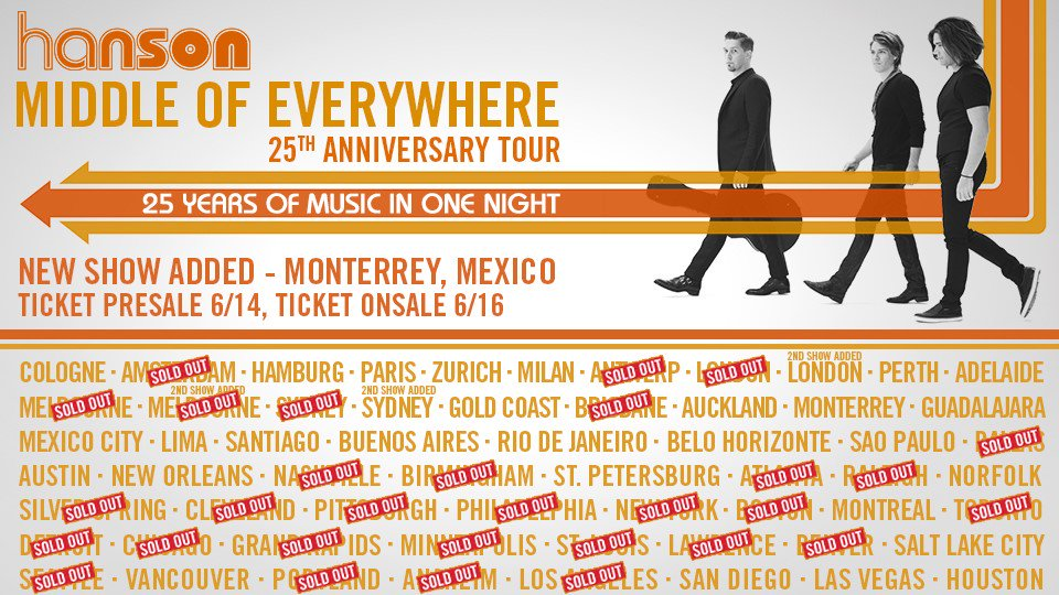 We just added a tour date in Monterrey Mexico! #HANSON25 https://t.co/NuOPZ3rlRE