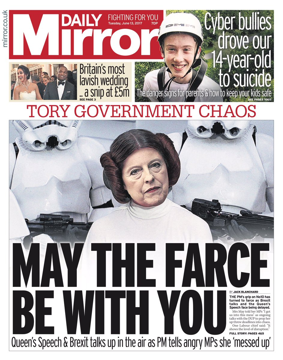 "Tuesday's Mirror ""May the Farce be with you"" #tomorrowspaperstoday #bbcpapers (via @hendopolis)"