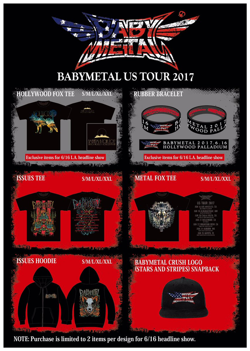 BABYMETAL New Merchandise for Upcoming U.S. tour 2017!! #USA #BABYMETAL https;//t.co/DITvYfyn7f
