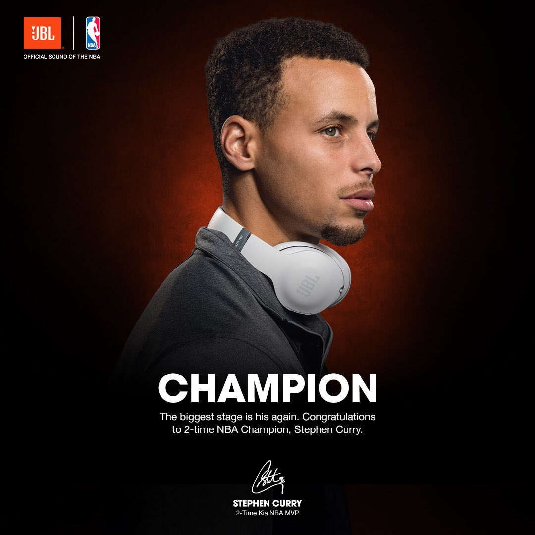 Congratulations @StephenCurry30! #TheBiggestStage in basketball is yours again! #JBLxNBA #NBAFinals https://t.co/dFplQmKihy