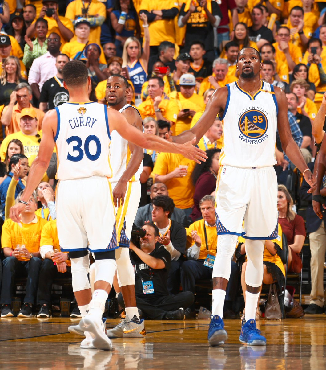 KD & Steph combined for 73 PTS in Game 5. That's the 2nd most for a duo in a #NBAFinals clinching win.