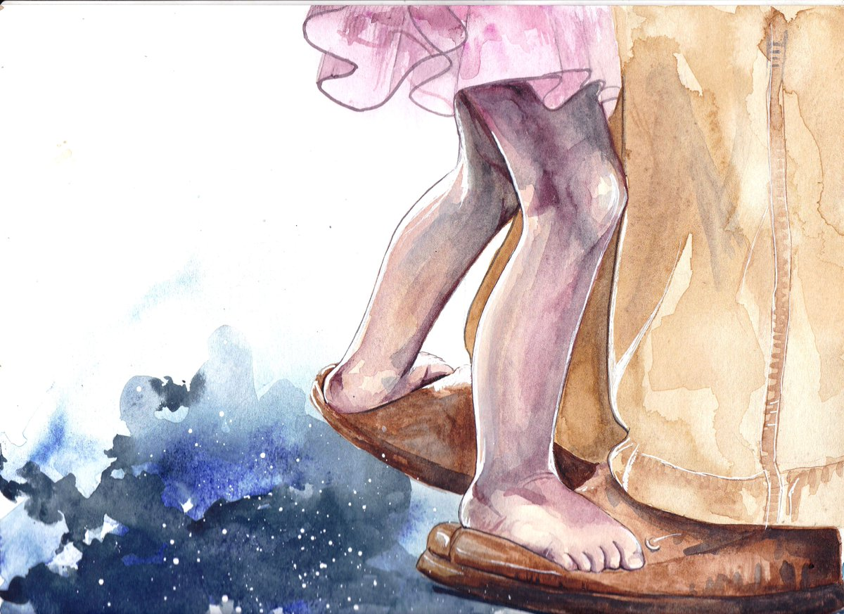 Beautiful painting of a child dancing on top of their dad's slippers... https://t.co/co4qRmX9W3 https://t.co/lQv00I0qhe