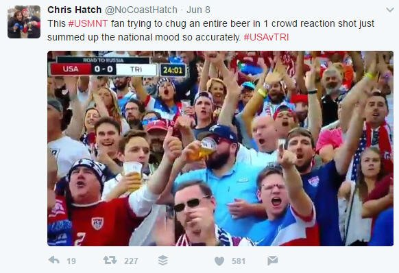 Astros fan at soccer game downs a beer like champ