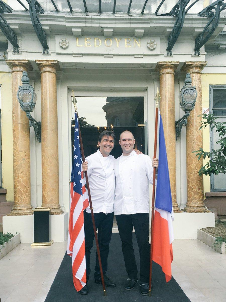 Look who's here! 4-hand dinner w/ winner for the gala at #pavillonledoyen 🇺🇸🇫🇷